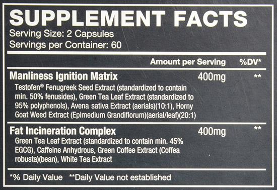 TestX180-ignite-supplement-facts