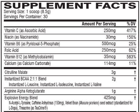 Cellucor C4 Zero Ingredient list