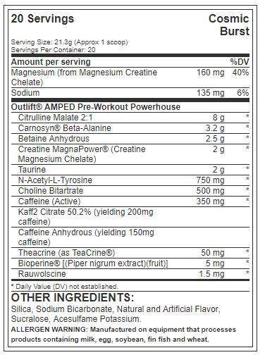 Nutrex Outlift Amped ingredients