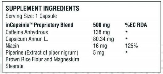 Capsiplex Sport ingredients