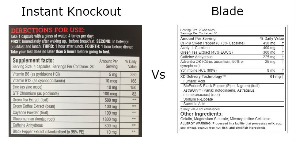Instant Knockout vs Blade ingredients