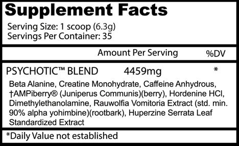 Psychotic Pre-Workout ingredients