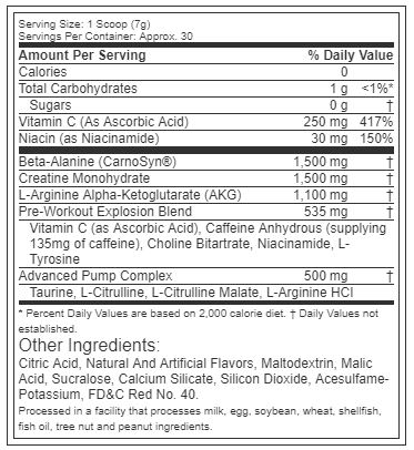 Six Star Pre-Workout Explosion ingredients