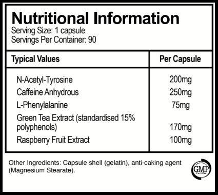 Pure Labs T6 Black ingredients