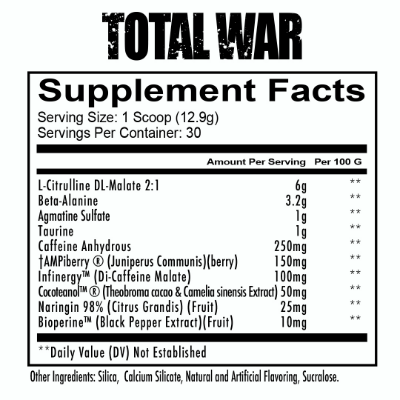 Total War pre-workout ingredients